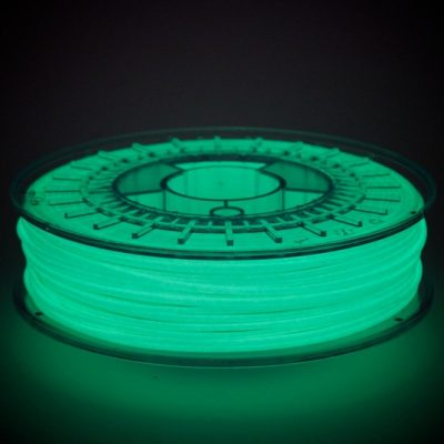 ColorFabb GlowFill will glow in the dark if it has been exposed to light for a couple of minutes!